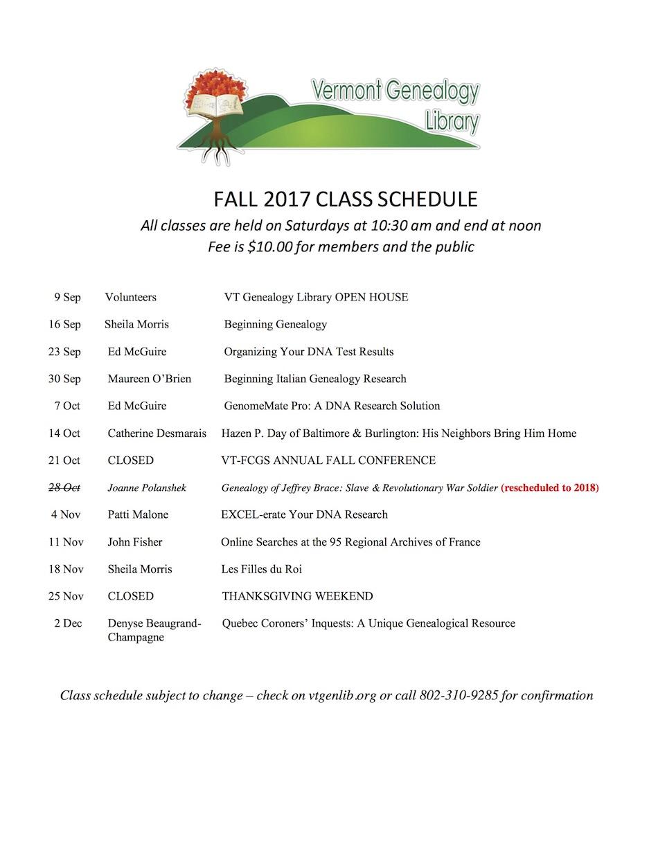 2017 Fall Classes