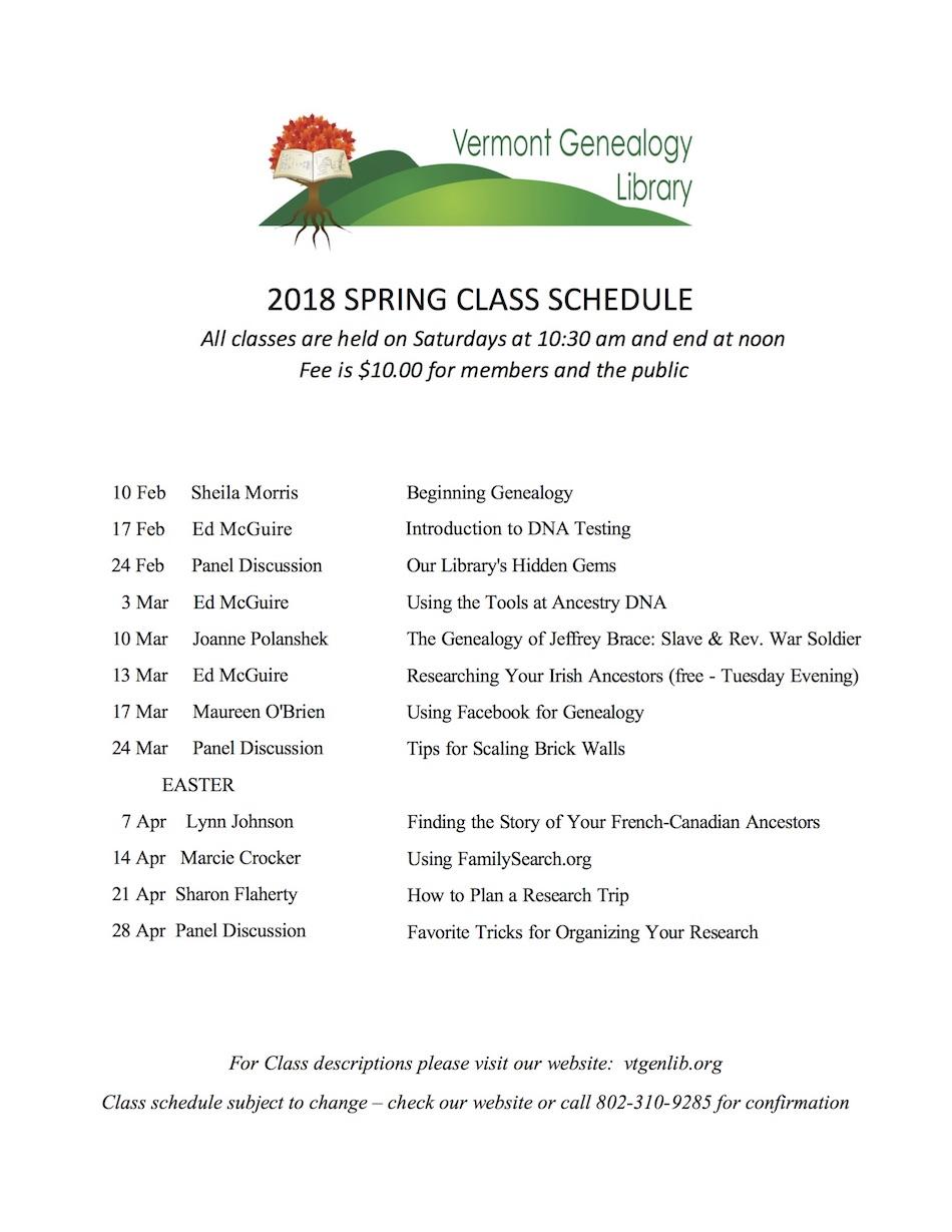 2018 Winter Classes