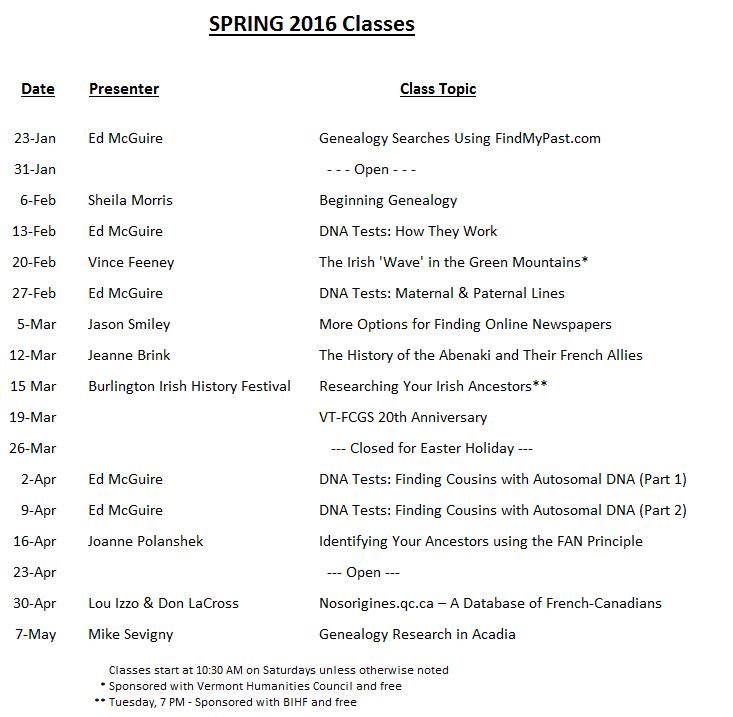 Spring 2016 Classes